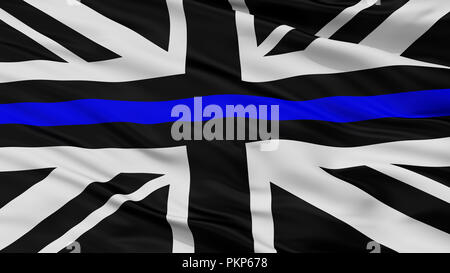 Union Jack Thin Blue Line Closeup Flag, 3D Rendering - Stock Photo