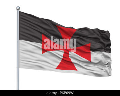 Crusader Isolated Flag on Flagstaff, White Background, 3D Rendering - Stock Photo