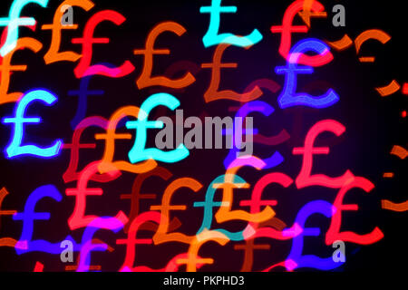 Colorful Streling Pound sign bokeh for background use - Stock Photo