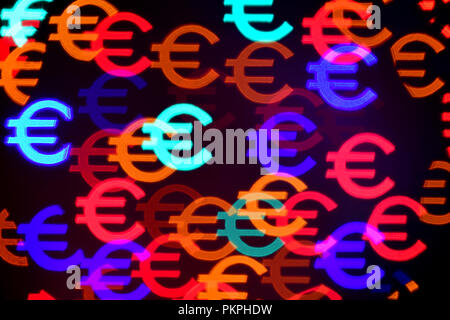 Colorful Euro symbols/signs bokeh for background use - Stock Photo