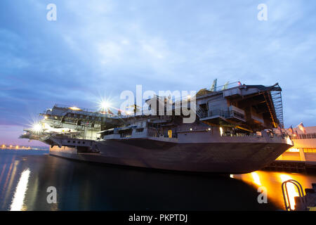 San Diego, AUG 2: Night view of the famous USS Midway Museum on AUG 2, 2014 at San Diego, California - Stock Photo
