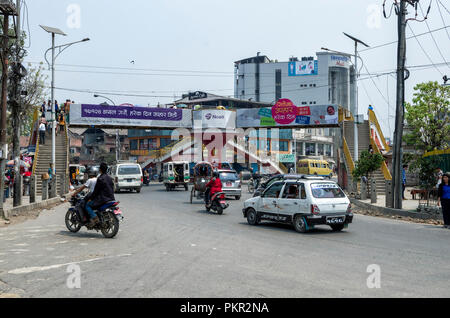 Kathmandu, Nepal - April 16, 2016: The lifestyle and environment of major streets in Kathmandu, Nepal. - Kathmandu is the capital and largest municipa - Stock Photo
