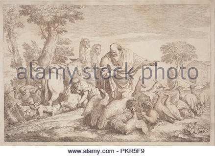 Noah Leading the Animals to the Ark. Dated: 1758/1759. Dimensions: plate: 29 x 42.9 cm (11 7/16 x 16 7/8 in.)  plate: 32.5 x 46.8 cm (12 13/16 x 18 7/16 in.). Medium: etching in sanguine on laid paper. Museum: National Gallery of Art, Washington DC. Author: Gaetano Zompini, after Giovanni Benedetto Castiglione. - Stock Photo