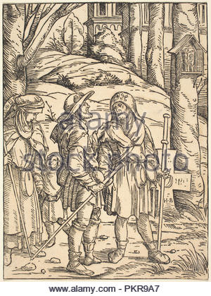Pilgrims at a Wayside Shrine. Dated: 1508. Dimensions: sheet: 18.9 x 14 cm (7 7/16 x 5 1/2 in.). Medium: woodcut in black on laid paper. Museum: National Gallery of Art, Washington DC. Author: Hans Burgkmair I. - Stock Photo