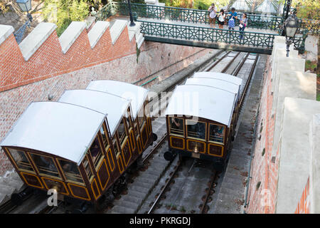 Funicular Budapest old vintage little train tourist station - Stock Photo