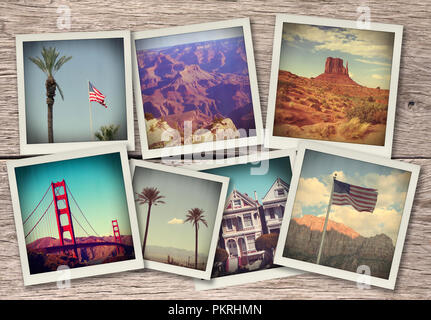 Images from western USA - collage on wood background made like instant photos from old camera - Stock Photo