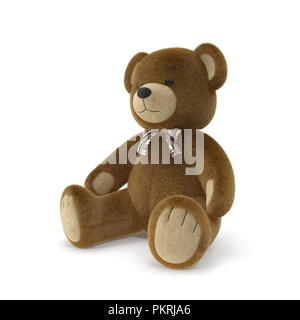 Toy Teddy Bear on a white background. 3D illustration - Stock Photo