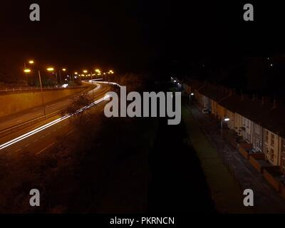 Light Trails on The A465 - Stock Photo