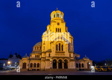 The Alexander Nevsky Cathedral at night in Sofia, Bulgaria. - Stock Photo