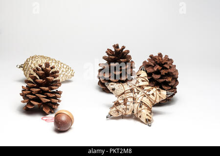 Various Christmas tree ornaments on a isolated white background - Stock Photo