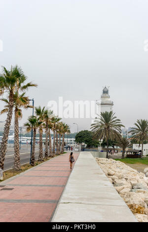 Spain, Malaga - 24 June 2017: The lighthouse at Malagueta beach in Malaga, Spain, Europe - Stock Photo