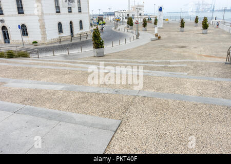 Spain, Malaga - 24 June 2017: Stone steps along the Malagueta beach at Malaga, Spain, Europe - Stock Photo