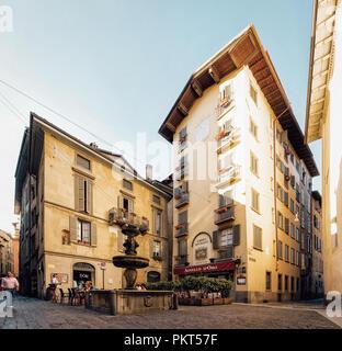 Bergamo, Italy - August 22, 2016: Fountain of Gombito on Via Gombito in Lower City of Bergamo in Lombardy in Italy - Stock Photo
