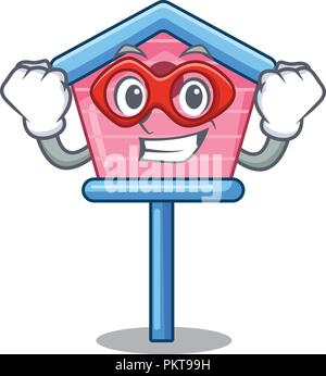 Super hero character cute wooden bird house in park - Stock Photo