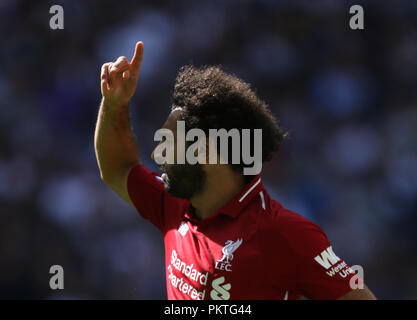 London, UK, 15th September 2018. Mohamed Salah (L) at the Tottenham Hotspur v Liverpool English Premier League football match at Wembley Stadium, London, on September 15, 2018. **THIS PICTURE IS FOR EDITORIAL USE ONLY** Credit: Paul Marriott/Alamy Live News - Stock Photo