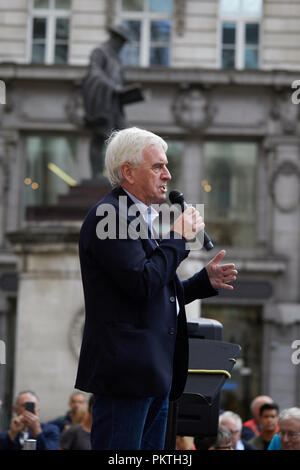 London, UK. - 15th September 2018: John McDonnell, British Labour Party politician and Shadow Chancellor of the Exchequer speaking at the Change Finance Rally outside the Royal Exchange in the City of London. Credit: Kevin Frost/Alamy Live News - Stock Photo