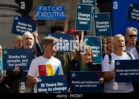 London, UK. - 15th September 2018: Protestors hold placards at the Change Finance Rally outside the Royal Excahnge. Credit: Kevin Frost/Alamy Live News - Stock Photo