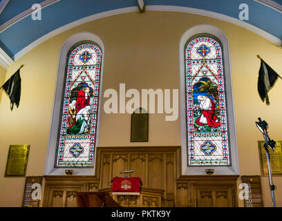 Gladsmuir Parish Church, Gladsmuir, East Lothian, Scotland, UK, 15th September 2018. The 2018 Lammermuir Festival won the Royal Philharmonic Society Music Award in 2017. The Festival will celebrate its 10th anniversary in 2019. The inside of the church with stained glass windows dedicated to Col James Ainslie who died 9th April 1876. It was built in 1839 and remodelled in 1929 - Stock Photo