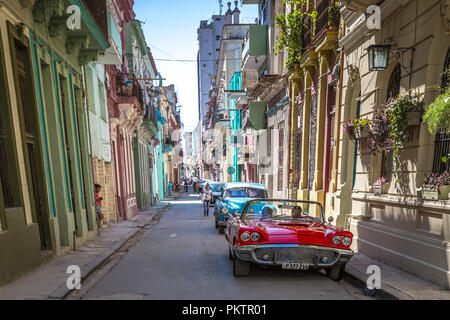 Havana, Cuba - Mar 10th 2018 - A ordinary road in Havana Old Town, old cars, colonial houses, calm feeling in Cuba - Stock Photo