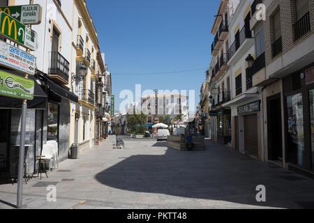 Spain, Ronda - 21 june 2017: PEOPLE WALKING ON STREET AMIDST BUILDINGS IN CITY - Stock Photo