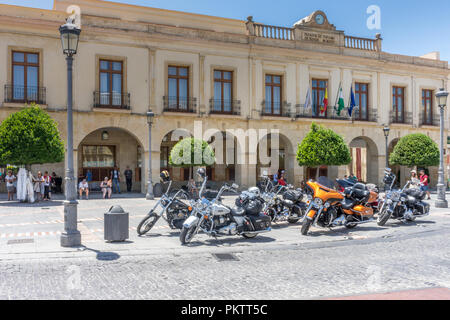 Spain, Ronda - 21 june 2017: Cruiser bikes parked on a road in Ronda - Stock Photo