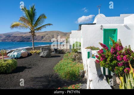 The small fishing village Playa Quemada, Lanzarote, Canary Islands, Spain - Stock Photo