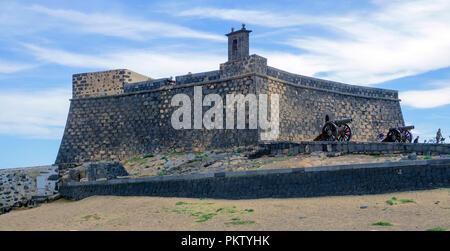 Castillo de San Gabriel fortress, Arrecife, Lanzarote, Canary Islands, Spain - Stock Photo