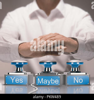 Hand about to press buzzers where it is written yes, no and maybe. Quick decision making and indecision concept. Composite image between a photography - Stock Photo