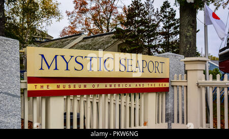 Mystic Seaport - Mystic Seaport in Mystic, Connecticut is the largest maritime museum in the United States - Stock Photo