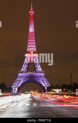The light show on the Eiffel Tower,on the night of Sept. 13 2018 to celebrate the 160th anniversary of Japan-France friendship. - Stock Photo