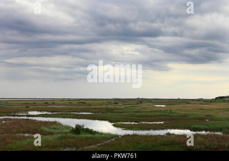 Looking towards Brancaster from Thornham across the marshes on the North Norfolk coast. - Stock Photo