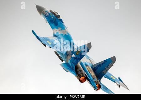 KLEINE BROGEL, BELGIUM - SEP 8, 2018: Ukrainian Air Force Sukhoi Su-27 Flanker fighter jet take off from Kleine-Brogel Airbase. - Stock Photo