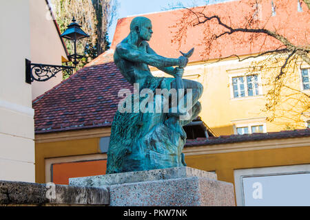 Fisherman and snake statue on Upper town in Zagreb, Croatia - Stock Photo