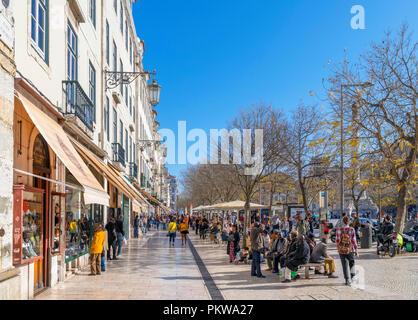 Shops on Praca Dom Pedro IV ( Rossio ), Baixa district, Lisbon, Portugal - Stock Photo