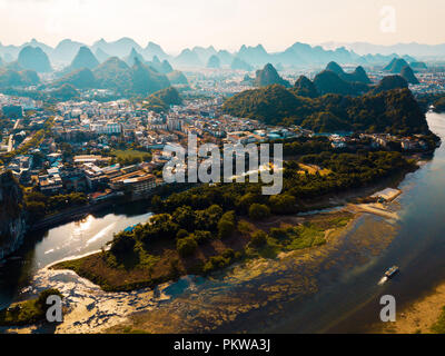 Guilin aerial view with Li river and stunning rock formations in China - Stock Photo