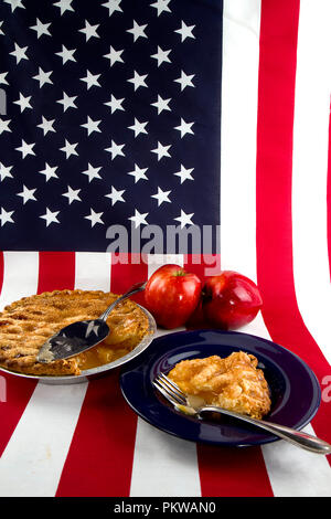 Patriotic concept, American Pie with flag. - Stock Photo