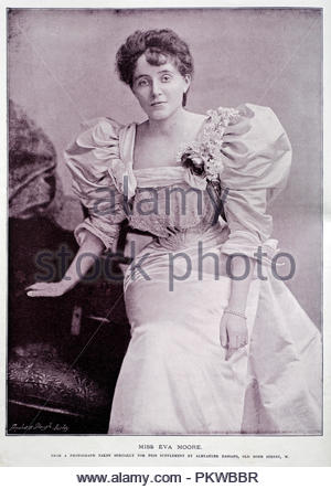 Eva Moore portrait, 1868 – 1955, was an English actress. Her career on stage and in film spanned six decades, and she was active in the women's suffrage movement. Photograph from 1890s - Stock Photo