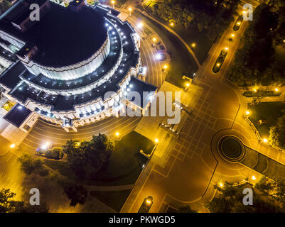 Minsk, Belarus – August 18, 2018: Belarusian Bolshoi Theatre under illumination at night - Stock Photo