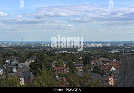view from kronberger castle on the skyline of frankfurt am main, germany. - Stock Photo