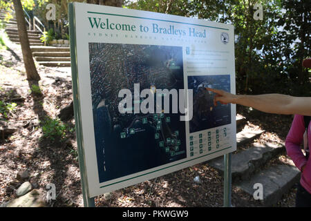 Map showing the area around Bradleys Head, Sydney Harbour National Park, Mosman on Sydney's lower north shore. - Stock Photo