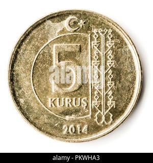 Old Turkish coin on white background, 5 Kurus, 2014 - Stock Photo