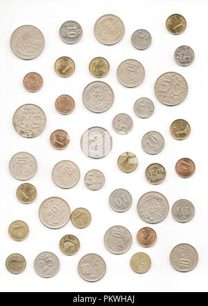 Old Turkish coins collection on isolated white background - Stock Photo