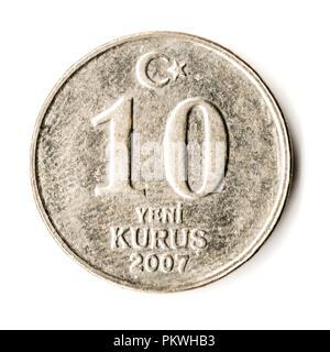 Old Turkish coin on white background, 10 Kurus, 2007 - Stock Photo