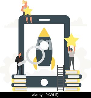 Rocket launch to the sky from the large phone up to the stars with small office people around it. Businessmen start their own new mobile app. Startup concept and internet learning.