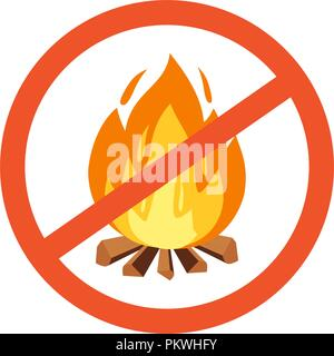 Vector flammable, hazard warning symbol design illustration. Forbidden to build a fire. Red line cross in circle with campfire - Stock Photo