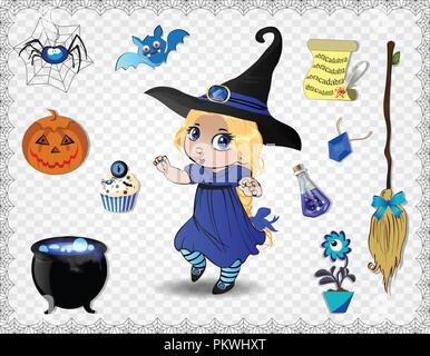 Blue halloween cartoon set of various objects for witches and cute little witch in costume and hat isolated on transparent background. Vector icons, c - Stock Photo