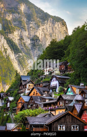 Detail of the typical houses of Hallstatt, surrounded by mountains. It is considered one of the most beautiful villages in the world - Stock Photo
