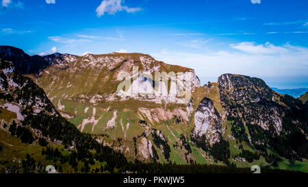 special rock formation in the swiss alps alpstein - Stock Photo