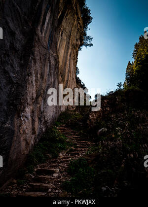 footpath with natrual steps heading up a mountain switzerland, alpstein - Stock Photo