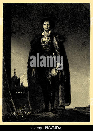 J. Kemble as Hamlet (Cemetery scene). After the engraving by J. Egau (painting by Th. Lawrence, 1801) in the British Museum in London, - Stock Photo